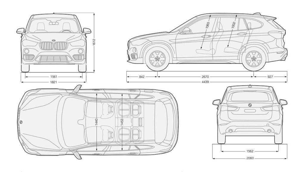 Габариты BMW x1 (2016)